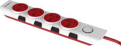 Gold Medal I-Design 4x4 4 Socket Surge Protector(White, Red)