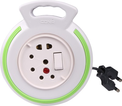 Cona Smyle Euro Flex Box / Extension Cord with 4-meter Wire (White with Green Ring) 3 Socket Surge Protector(White)