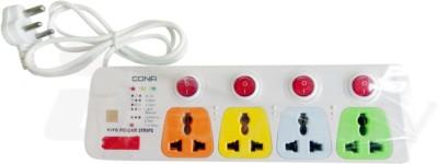 Cona Viva 4+4 2meter Power Cord 4 Socket Surge Protector(Multicolor)