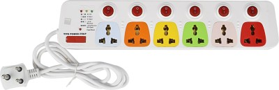 Cona Smyle Viva 6+6 Power Strip / Spike Guard d 6 Socket + 6 Switch with 1.75m Wire 6 Socket Surge Protector(Multicolor)