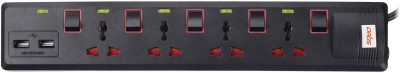Artis AR-SP400MS-USB 4 Socket Multi Switch with 2 USB Port Spike Guard 1.5 Mtr Cable 4 Socket Surge Protector(Black)