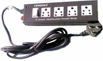 Powerpack 1+4 6 Amp 3 Socket Surge Protector(Black)
