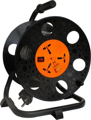 MX Universal Sockets Extension Reel with 50 Meters Electrical power cable Spike suppressor Fuse and Mov technology Unbreakable 3 Socket Surge Protector(Multicolor)