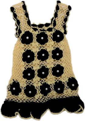 AV Embroidered Round Neck Casual Baby Girls Beige, Black Sweater