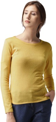 Mast & Harbour Solid Round Neck Casual Women Yellow Sweater