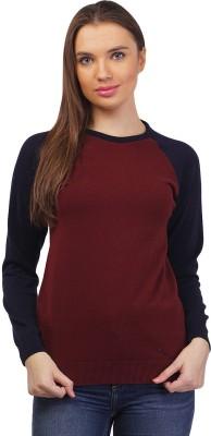Kalt Solid Round Neck Casual Women Maroon Sweater