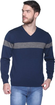 CLUB YORK Striped V-neck Casual Men Blue Sweater at flipkart