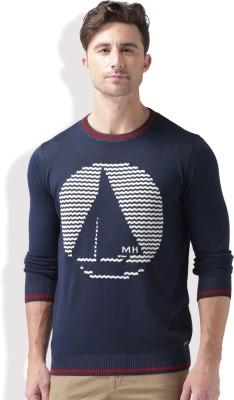 Mast & Harbour Self Design Round Neck Round Neck Casual Men Dark Blue Sweater at flipkart