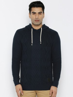 Roadster Self Design Round Neck Round Neck Casual Men Dark Blue Sweater at flipkart