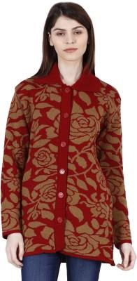 Urban Studio Solid Round Neck Casual Women Red Sweater