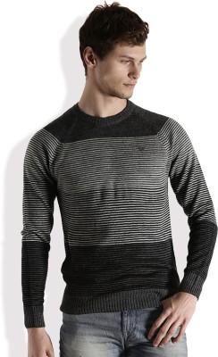 Roadster Self Design Round Neck Casual Men Grey Sweater at flipkart