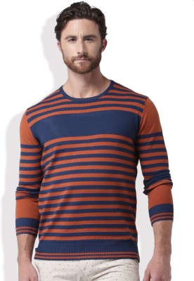 Mast & Harbour Self Design Round Neck Casual Men Orange, Dark Blue Sweater at flipkart