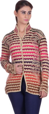 eWools Women Button Woven, Solid Cardigan