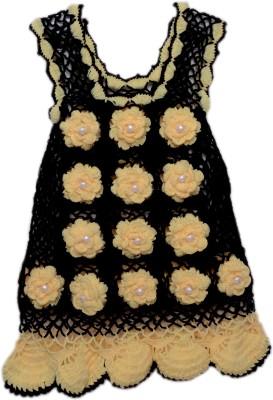 AV Embroidered Round Neck Casual Girls Black, Beige Sweater