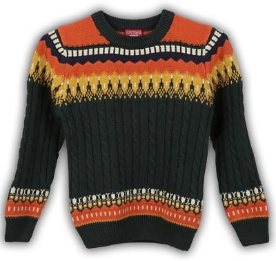 Lilliput Self Design Round Neck Casual Boys Green Sweater