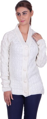 eWools Solid V-neck Casual Women White Sweater