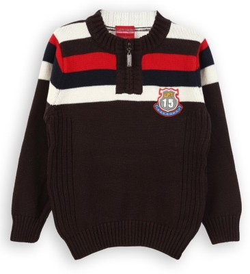 Lilliput Striped Round Neck Casual Boys Brown Sweater
