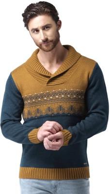 Mast & Harbour Self Design Round Neck Round Neck Casual Men Dark Blue, Brown Sweater at flipkart