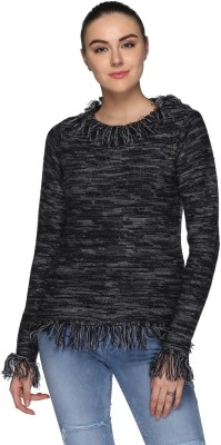 Tommy Hilfiger Self Design Round Neck Casual Women Grey Sweater