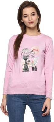 Camey Animal Print Round Neck Casual Women Pink Sweater