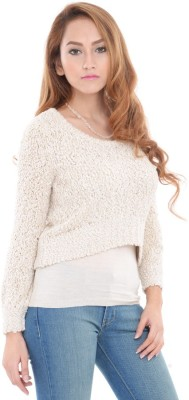 Estance Solid Round Neck Women White Sweater