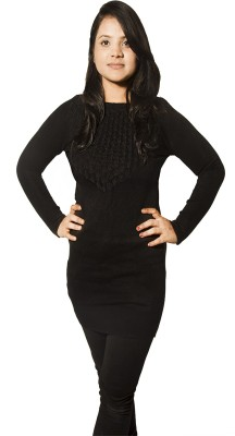 Mitra Creations Solid Round Neck Casual Women Black Sweater