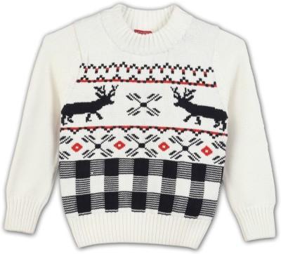 Lilliput Self Design Round Neck Casual Boys White Sweater
