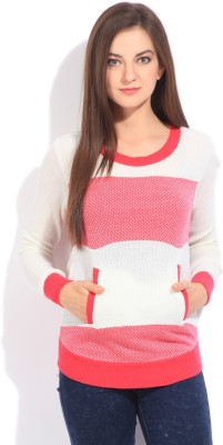 Flying Machine Striped Round Neck Casual Women White, Pink Sweater