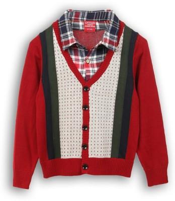Lilliput Self Design V-neck Casual Boys Red Sweater