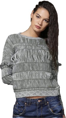 Roadster Self Design Round Neck Casual Women Grey, White Sweater at flipkart