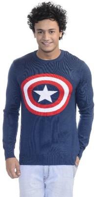 Captain America Printed Round Neck Casual Men Blue Sweater