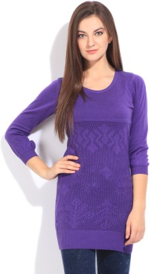 Flying Machine Self Design Round Neck Casual Women Purple Sweater at flipkart