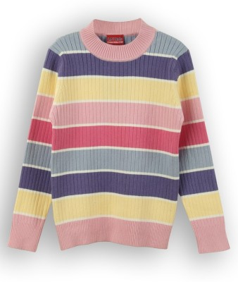 Lilliput Striped Round Neck Baby Girls Multicolor Sweater