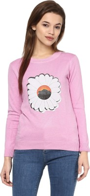 Camey Floral Print Round Neck Casual Women Pink Sweater
