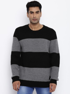 Roadster Solid Round Neck Round Neck Casual Men Black, Grey Sweater at flipkart