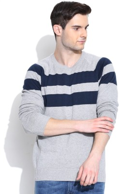 Flying Machine Self Design Round Neck Casual Men Grey Sweater at flipkart