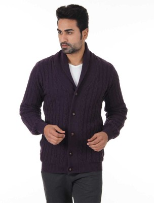 London Fog Striped V-neck Casual Men Purple Sweater at flipkart
