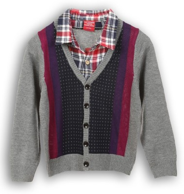 Lilliput Self Design V-neck Casual Boys Grey Sweater