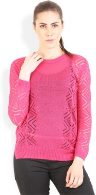 Lee Solid Round Neck Casual Women Pink Sweater at flipkart