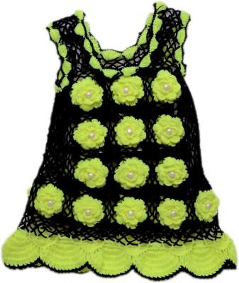 AV Embroidered Round Neck Casual Baby Girls Black, Light Green Sweater