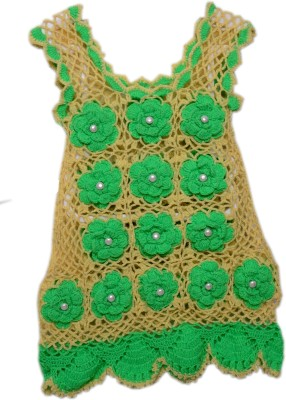 AV Embroidered Round Neck Casual Girls Beige, Light Green Sweater