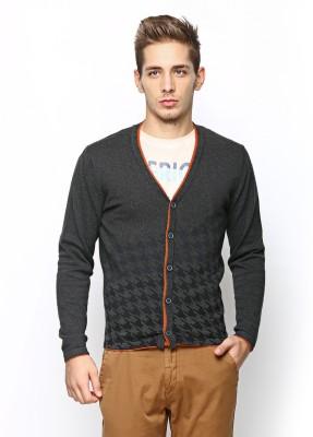 Arrow New York Printed Round Neck Casual Men Grey Sweater