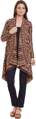 Street 9 Geometric Print Round Neck Casual Women Maroon Sweater at flipkart