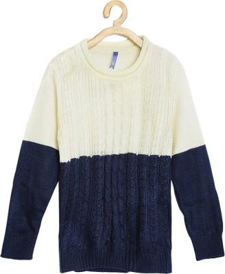 Yk Self Design Round Neck Round Neck Casual Girls White, Dark Blue Sweater at flipkart