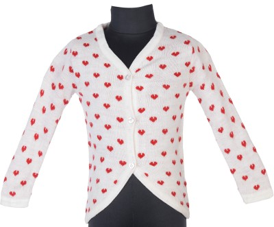 Addyvero Geometric Print Turtle Neck Casual Baby Girls Red, White Sweater