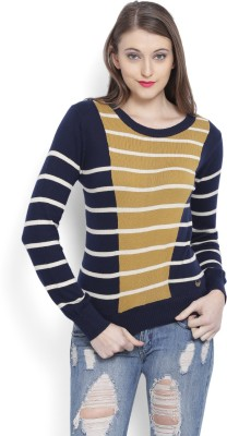 Flying Machine Striped Round Neck Casual Women Dark Blue Sweater at flipkart