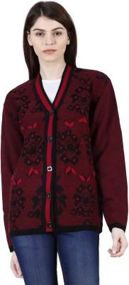 Urban Studio Solid Round Neck Casual Women Maroon Sweater