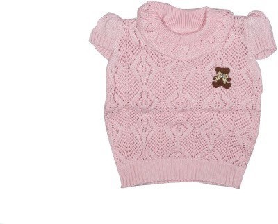 Icable Self Design Round Neck Casual Baby Girls Pink Sweater
