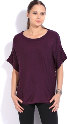 Flying Machine Solid V-neck Casual Women