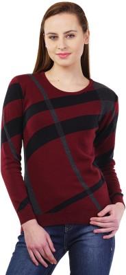 Kalt Self Design Round Neck Casual Women Maroon Sweater